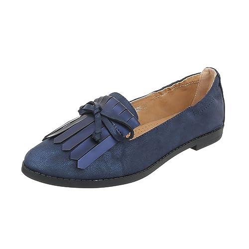 Zapatos para mujer Mocasines Tacón ancho Slipper Ital-Design: Amazon.es: Zapatos y complementos