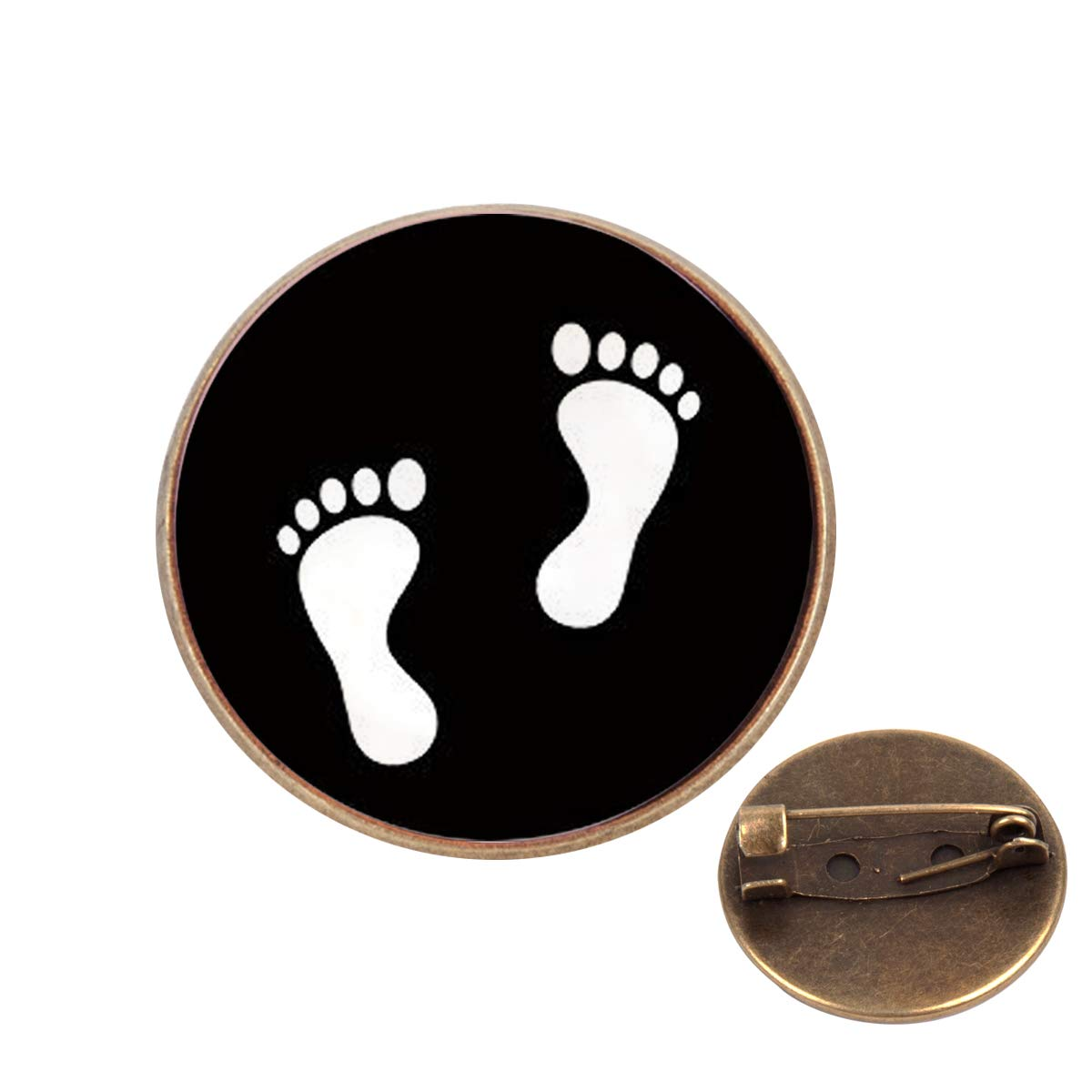Pinback Buttons Badges Pins Lovely Footprints Print Lapel Pin Brooch Clip Trendy Accessory Jacket T-Shirt Bag Hat Shoe