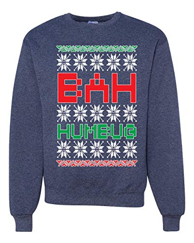 Bah Humbug Funny Classic Snow Xmas | Mens Ugly Christmas Sweater Crewneck Graphic Sweatshirt, Vintage Heather Navy, Large (Jumpers Humbug Christmas)