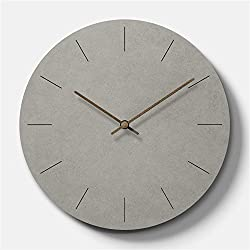 Simple Modern Concrete-feel Wooden Round Wall Clock 11 inch Non-ticking Silent (Time Bars)