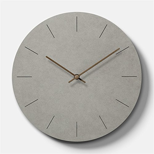 Simple Modern Concrete-feel Wooden Round Wall Clock 11 inch...