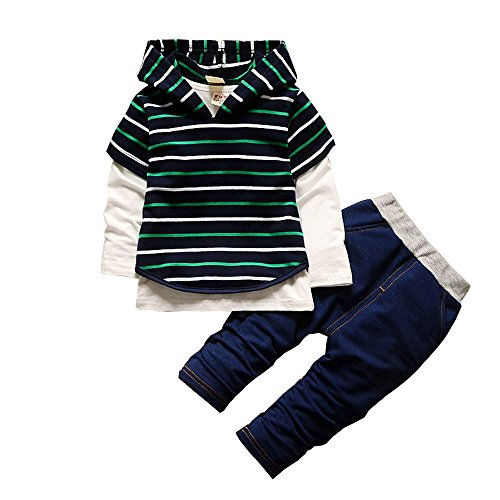 BibiCola Spring Autumn Boys Clothes 3pcs long sleeve shirt +Vest+pants Striped Tracksuit Set Hot Sales Boys Clothing Sets (24M, green)