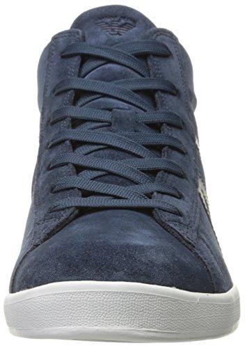 Armani Jeans scarpe sneakers alte uomo in camoscio nuove blu blu