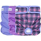 PETSWEARE Female Dog Diaper - Reusable and Washable - Soft & Comfortable - A Set of 3 PCS (X-Small, Purple, Lilac, Scottish)