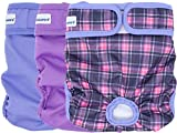 PETSWEARE Female Dog Diaper - Reusable and Washable - Soft & Comfortable -. A Set of 3 PCS (Small, Purple, Lilac, Scottish)