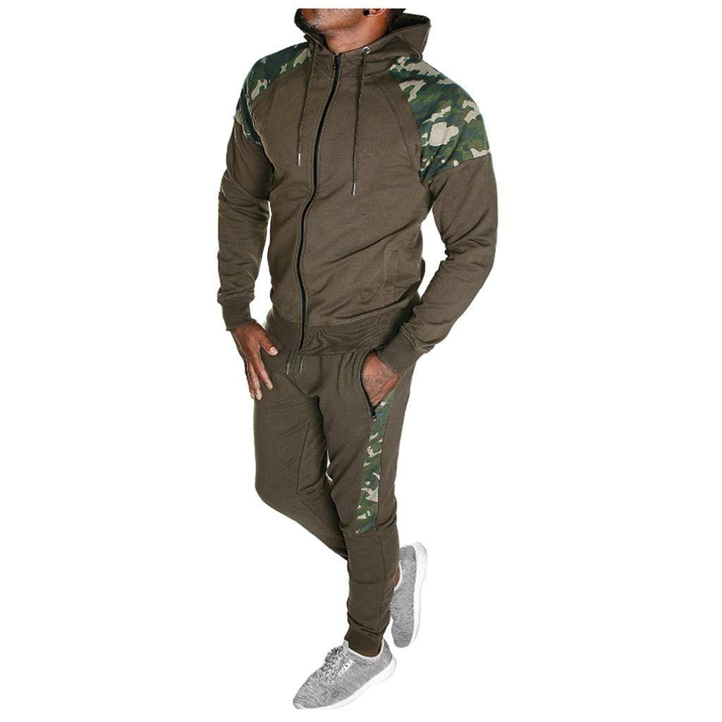 WUAI-Men Trendy Tracksuit Set Casual Full Zip Running Jogging Hoodie Sweatshirt Sweatpants Sports Suit(Coffee,Small) by WUAI-Men