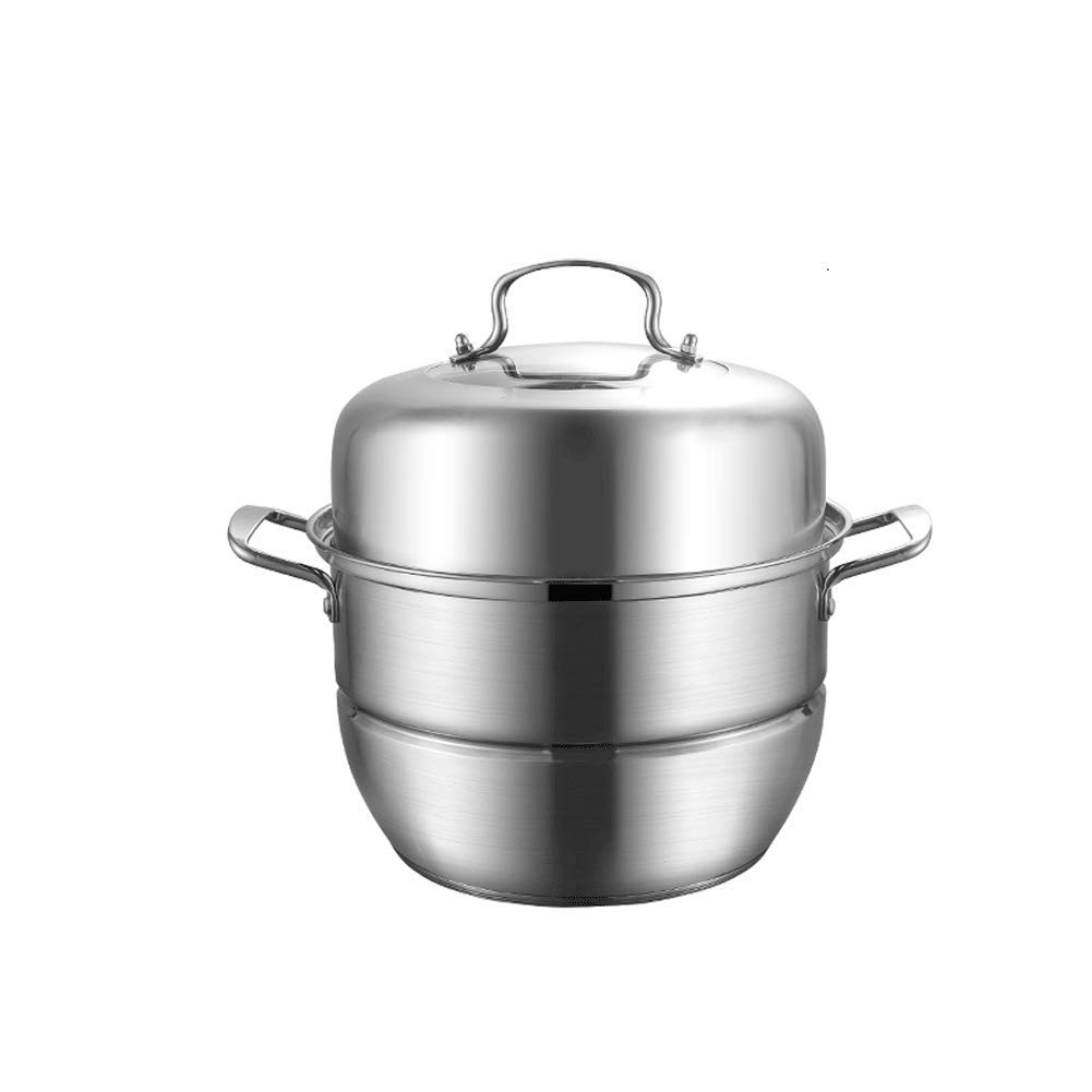 ,food SteamerSteamer stainless steel three-layer thick multi-layer steamer two-layer steam pot cooking pot cover glass cover,food Steamer-A-30CM