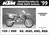 320455 1999 KTM 125 200 SX MXC EXC EGS Chassis Spare Parts Manual