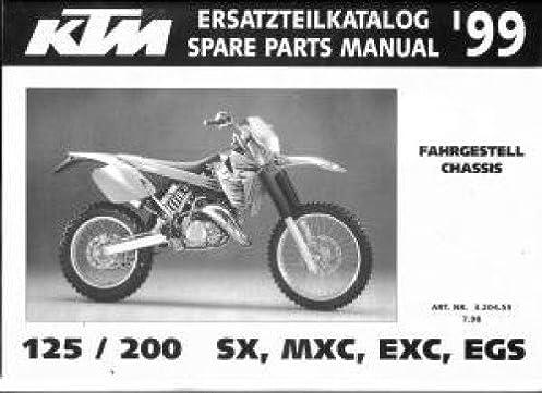 320455 1999 ktm 125 200 sx mxc exc egs chassis spare parts manual rh amazon com 1999 ktm 200 exc service manual 1998 KTM EXC 200