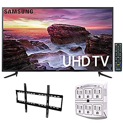 Samsung UN58MU6100 - 58-inch Smart MU6100 Series LED 4K UHD TV w/ Wi-Fi + Wall Mount Bundle Includes, Low Profile Flat TV Wall Mount 50inch-80 inch & SurgePro 6-Outlet Surge Adapter w/ Night Light