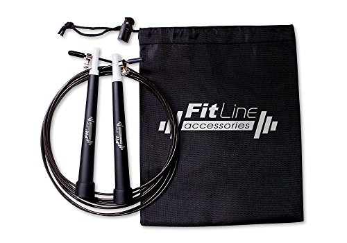 Jump-Rope-Speed-Crossfit-Adjustable-Cable-Double-Unders-Boxing-Skipping-MMA-Training-Cardio-Fitness-Workout-Sport-Gym-Exercise-Durable-Wire-BONUS-Carrying-Bag-FitLine-Accessories