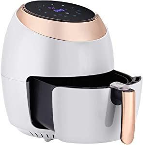 TIN-YAEN Air Fryer 8L Multifunction Digital Air Fryer Chicken Oil Free Air Fryer Health Fryer Pizza Cooker Smart Touch LCD Electric Deep Air Fryer (Color : White, Plug Type : UK)