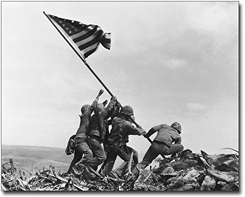 (Americans Raising the Flag on Iwo Jima WWII 11x14 Silver Halide Photo Print)