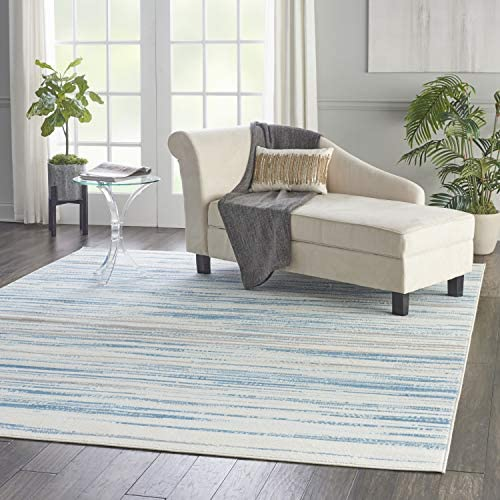 Nourison Jubilant Teal Blue and White 9 x12 Large Low-pile Rug, 8 6 x 12