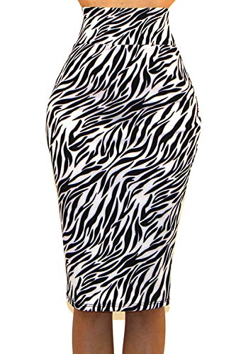 Vivicastle Women's High Waist Band Bodycon Career Office Midi Pencil Skirt (Large, D66, Zebra)