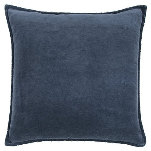 """Image of Rizzy Home Decorative Polyester Filled Pillow Velvet Solid Decorative Pillow, 22"""" x 22"""", Blue"""
