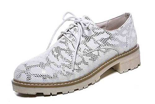 Comfy Top Up Toe White Round Oxfords Easemax Heel Women's Lace Shoes Low Low 5tqatXcW