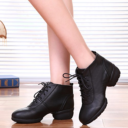 Abby 1807 Womens Jazz Split Sole Closed Toe Mid Top Low Heel Rumba Modern Lace Up PU Ankle Boot Dance Shoes Black M US 5 WYeO5