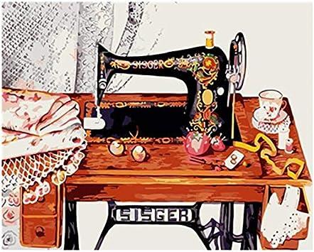 AFSZHWLP Pintura por números DIY máquina de Coser Vintage bodegón ...