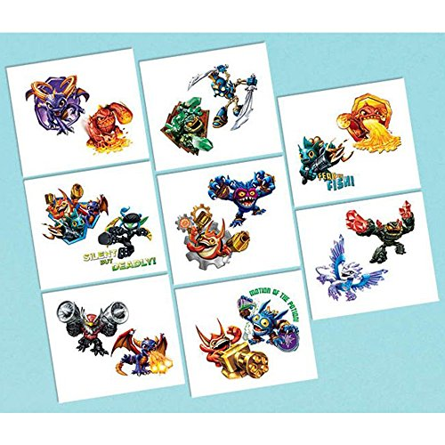 "Amscan Skylanders Temporary Tattoos Birthday Party Favors (16 Pack), 2"" x 1 3/4"", Multicolor"