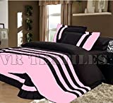 VR Textiles Collection 1500 Thread Count Egyptian cotton 5 PC Striped Bed Spread Bedding Set Queen Baby Pink