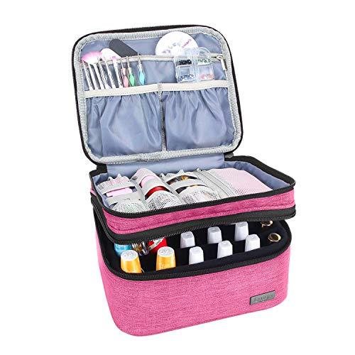 Luxja Nail Polish Carrying Case - Holds 20 Bottles (15ml - 0.5 fl.oz) or 30 Bottles (7ml - 0.27 fl.oz), Portable Organizer Bag for Nail Polish and Manicure Set, Pink (Nail Pink Case Polish)