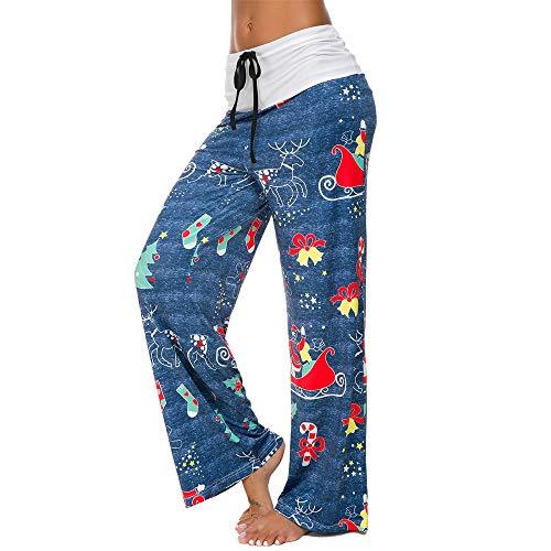 YOcheerful Women Pants Loose Fit Sweatpants Yoga Gym Trousers Comfy Leg Lounge Dancing Pants Lounge Pant (T-Blue,US-XS/Lable-S)