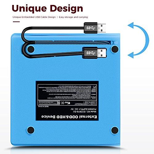 TOPCHU External CD Drive Ultra Slim USB 2.0 CD DVD-RW DVD ROM Drive DVD Burner Reader Recorder Writer Rewriter for Win10,Laptop, Apple MacBook Pro Air iMac, PC, Desktop, Notebook(with Storage case) by TOPCHU (Image #3)