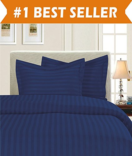 Elegant Comfort Luxury 2-Piece Stripe Duvet Cover Set 1500 Thread Count Egyptian Quality Silky Soft, Twin/Twin XL, Navy Blue