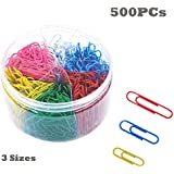 Paper Clips, 500 Pieces Colored Paperclips, Small Medium and Jumbo Sizes for School Home Office Use (28mm 33mm 50mm)