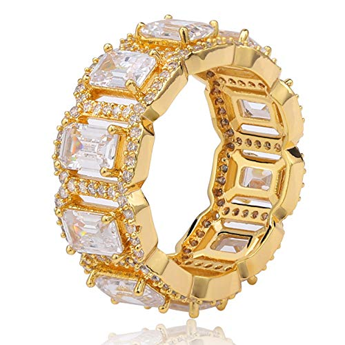 - TOPGRILLZ 14K Gold Plated Iced Out Bling Cushion Baguette Solitaire Diamond Engagement Band Rings for Men Hip Hop Jewelry Gifts (Gold, 8)