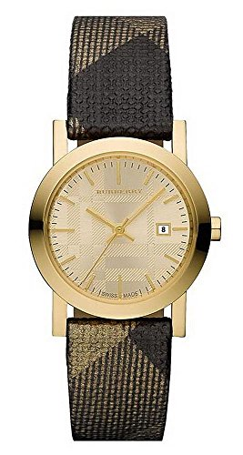 Burberry Womens Small Gold Watch w/ Leather Band - BU1875