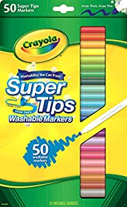 Crayola Washable SuperTips Markers, 50 Vibrant Colours, Perfect for the Classroom, School Booklists or drawing at home. Durable Conical Tip allows for thick or thin line drawing, requested by teachers