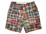 Ralph Lauren Polo Mens Classic Fit 9'' Madras Patchwork Shorts Blue/Red Plaid (34)