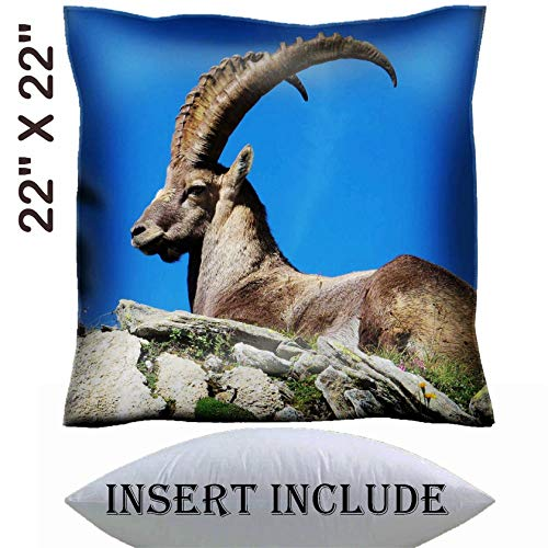 22x22 Throw Pillow Cover with Insert - Satin Polyester Pillow Case Decorative Euro Sham Cushion for Couch Bedroom Handmade Majestic alpine ibex Image 36312883 Customized Tablemats Stain Resistance -