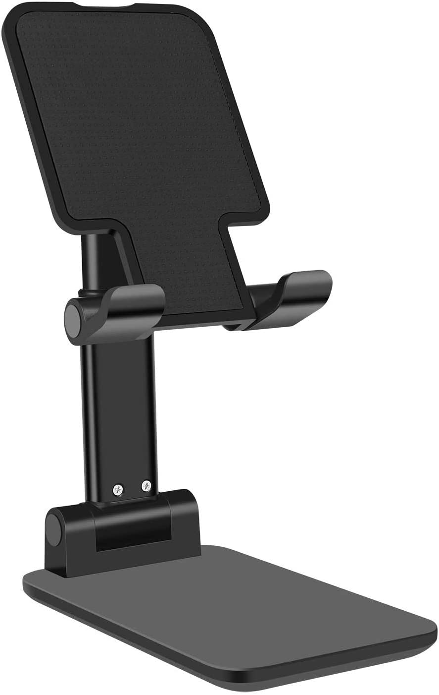 Foldable Cell Phone Stand Angle Height Adjustable Stable Portable Desktop Stand for iPhone 11 Pro Max and iPads, Home or Office Cell Phone Holder Dock for Samsung Galaxy Tabs, Google Nexus, LG (Black)