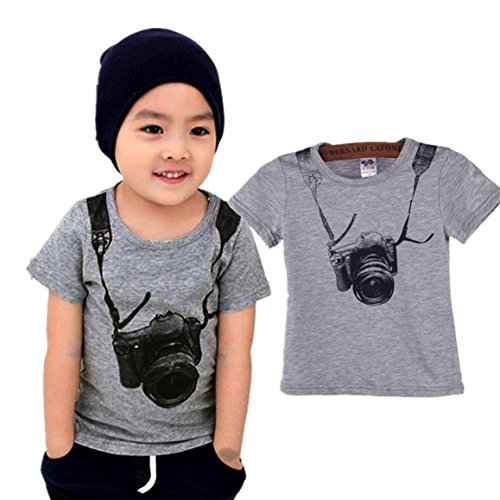 Baby Boy Kids Children Short Sleeve Tops T Shirt Tees Clothes (3 Year, Gray)