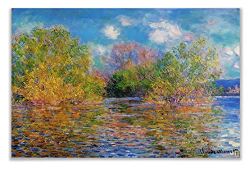 Monet Wall Art Collection The The Seine Near Giverny, 1888 Canvas Prints Wrapped Gallery Wall Art | Stretched and Framed Ready to Hang - 1888 Stretched Canvas