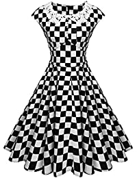 amazon geometric dresses clothing clothing shoes jewelry Picnics in Bad Weather women s classy vintage audrey hepburn style 1940 s rockabilly evening dress