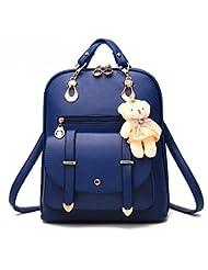 MSXUAN Fashion PU Leather Backpack Shoulder Bag Rucksack Travel Bag
