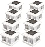GreenLighting (8 Pack) Solar LED Post Cap Light for 5 x 5 PVC Posts w/Wood Post Adapter (White)