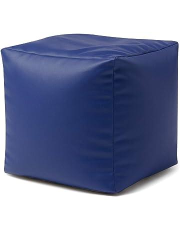 87c9867fff3 Bean Bag Bazaar Cube - Faux Leather Footstool, 38cm x 38cm - BeanBag Foot  Stool