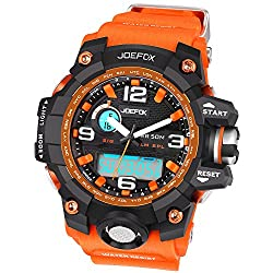 Joefox Men Sport Watches LED Digital and Analog Quartz Chronograph Alarm Orange Band