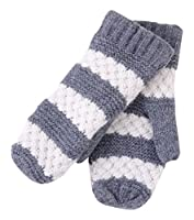 Tickled Pink Women's Faux Fur Lined Mittens Lightweight Striped, Gray, One Size