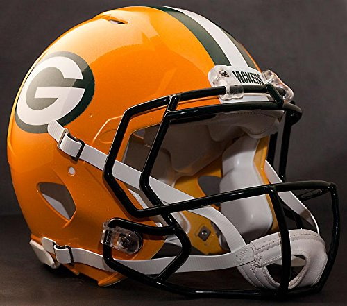 Riddell Speed Green Bay Packers NFL Authentic Football Helmet with CU-S2BD-SW Football Helmet Facemask/Faceguard (Odell Beckham Jr. Style)