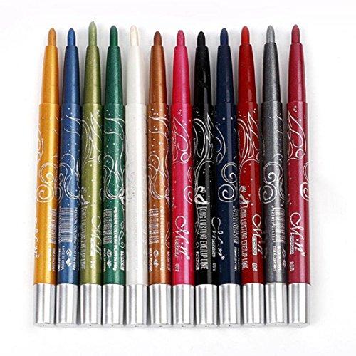 Free Glitter Pen (Wqueen Automatic Rotating Waterproof 12 Color Eye Shadow Pen Long-Lasting Eye Shadow Eyeliner Lip Liner Pen (A))
