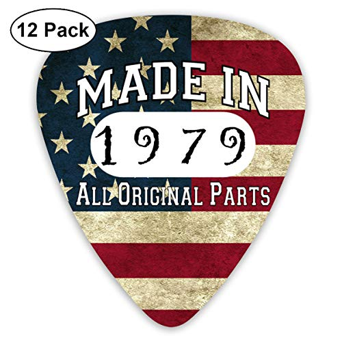 40th Birthday Gifts Made in 1979 All Original Parts Sampler Guitar Picks - 12 Pack Unique Accessory for Guitar Player Best Gift for Guitarist