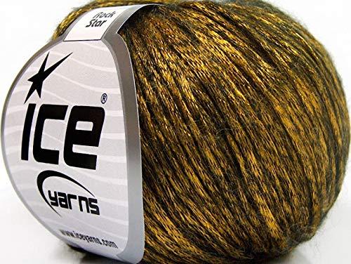 Rock Star, Black, Yellow-Gold Metallic Shine, Soft Nylon Merino Wool Acrylic Blend Yarn, 50 Gram
