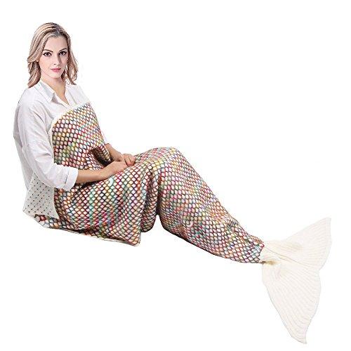 Mermaid Tail Blanket,Kyson Mermaid Crochet Blankets for Adults Kids, All Season Sleeping Bag Halloween Thanksgiving Christmas Gift (Adult Rainbow, (Easy Mermaid Costume)