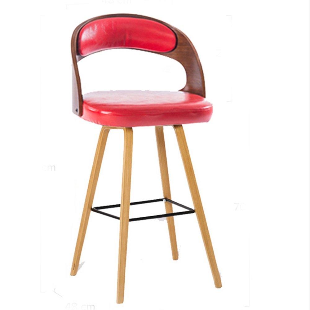 XIAOYAN バースツールソリッドウッド+ PUシンプルでモダンな安全安全な快適な耐久性 (色 : 赤) B07DW5XMV6 赤 赤